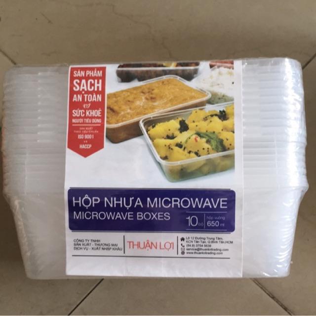 10 hộp nhựa vuông microwave thuận lợi 650ml
