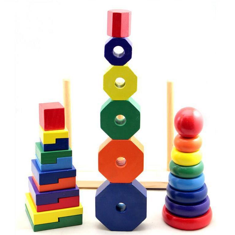 Đồ chơi gỗ - Thả hình khối ba trụ Montessori (Size nhỏ) Vivitoys