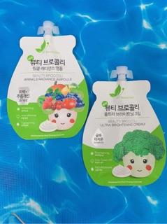 Combo 2 Bộ Kem Suplo và Tinh chất Ampoule Súp Lơ (Hàn Quốc) dưỡng trắng, căng bóng
