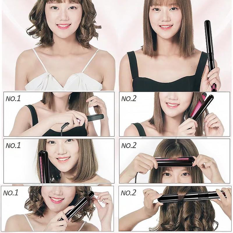 Máy Là Tóc Máy uốn duỗi tóc  2in1 Hiển Thị LED Điều Chỉnh Nhiệt Độ Kẹp êm không rít tóc Bảo Hành 1 Năm