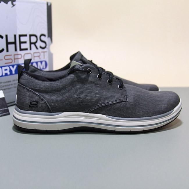 Giày Skechers thấp cổ vải đen STVD22