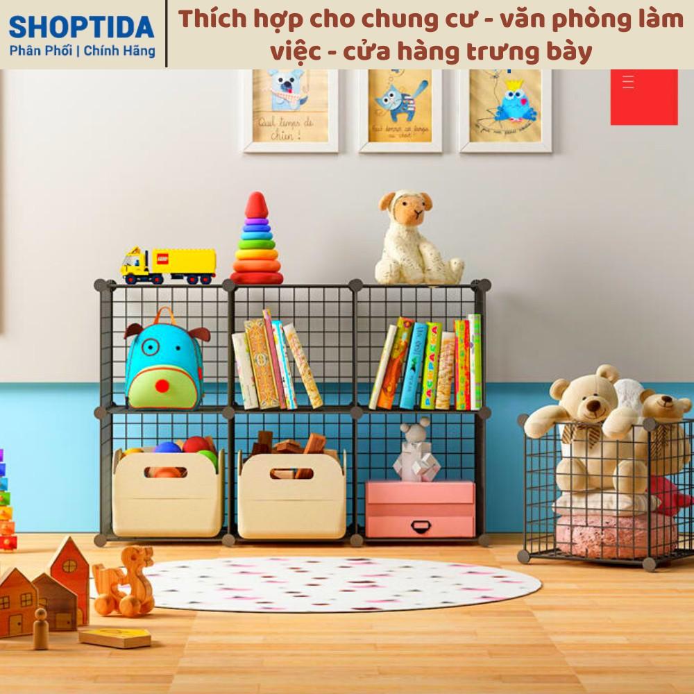 Giá kệ lưới sắt 9 ô lắp ghép đa năng trưng bày sản phẩm, giá sách, giày dép,decor trang trí, chuồng nuôi, Jabox Shoptida