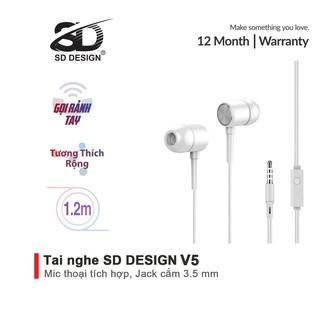 Tai Nghe Nhét Tai SD Design V5 Super Bass tương thích các dòng điện thoại jack 3.5mm, có mic bảo hành Chính Hãng 1 đổi 1 thumbnail