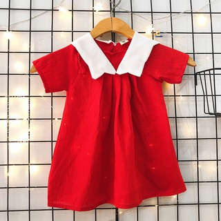 Đầm xòe đỏ cổ bèo xinh yêu cho bé 1-10 tuổi chất cotton nhẹ mát họa tiết đơn giản nhẹ nhàng BBShine – D070