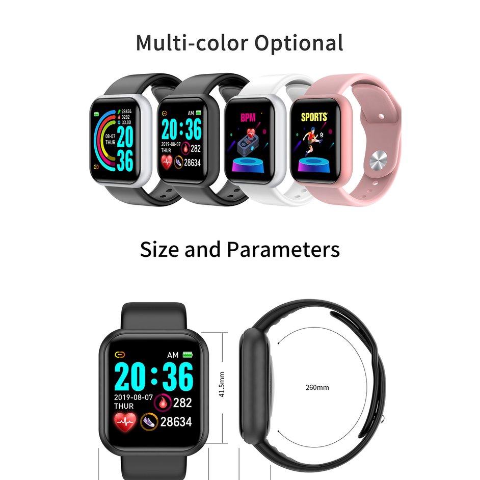 Đồng hồ thông minh Y68 chống nước kết nối bluetooth hỗ trợ theo dõi sức khỏe