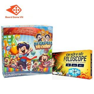 Combo boardgame Đường Đua Tài Chính và Kính hiển vi giấy Foldscope - BoardgameVN