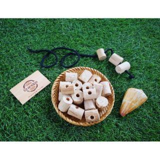 Xâu hạt gỗ tự nhiên (kèm túi đựng vải canvas)