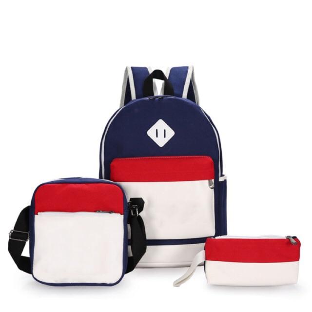 Bộ 1 balo + 1 túi đeo chéo + 1 ví cầm tay KQ115 (XANH DƯƠNG PHỐI MÀU)