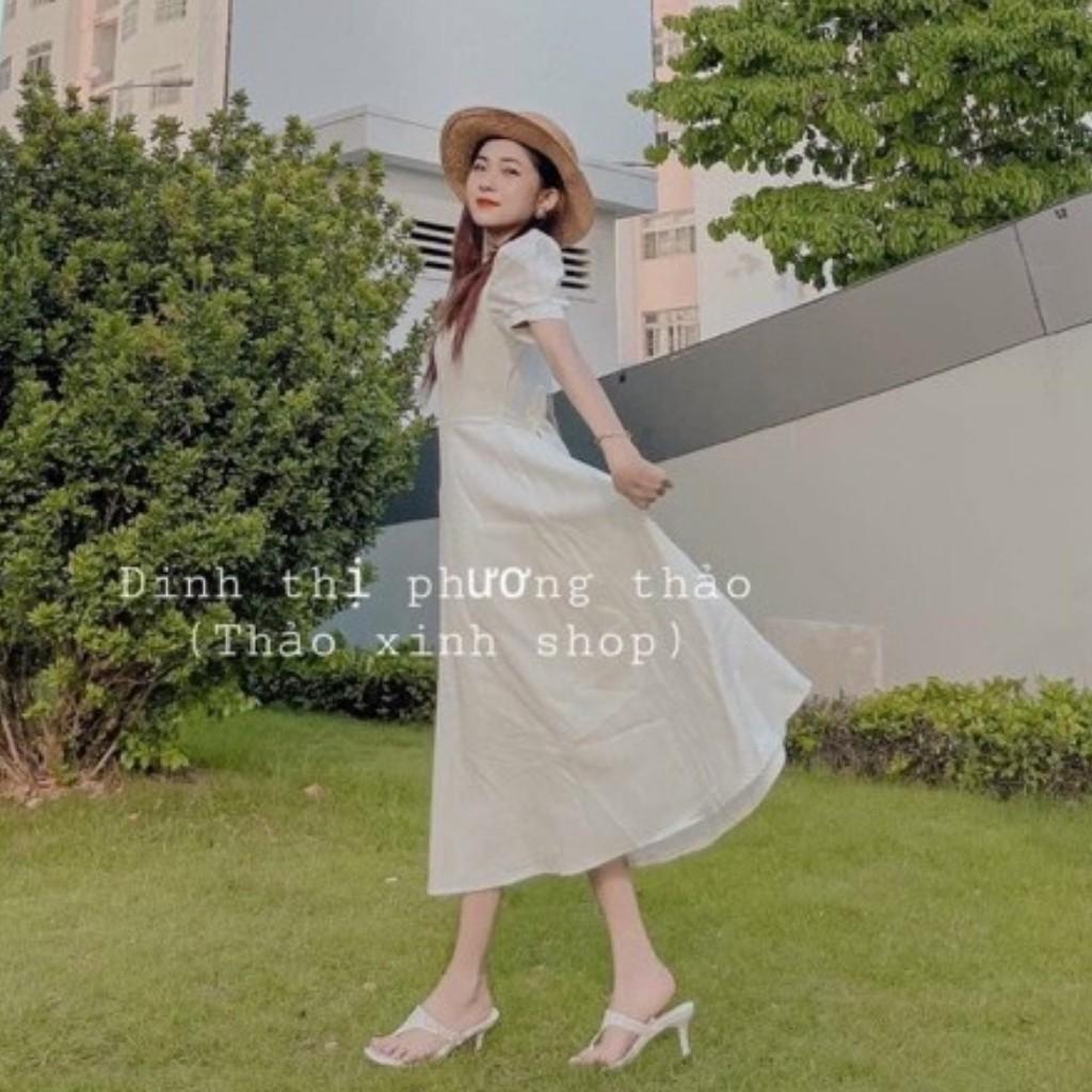 Mặc gì đẹp: Tung bay với Váy Dáng Xoè Công Chúa Tay Phồng Buộc Nơ Lưng Chất Voan Mịn Siêu Xinh