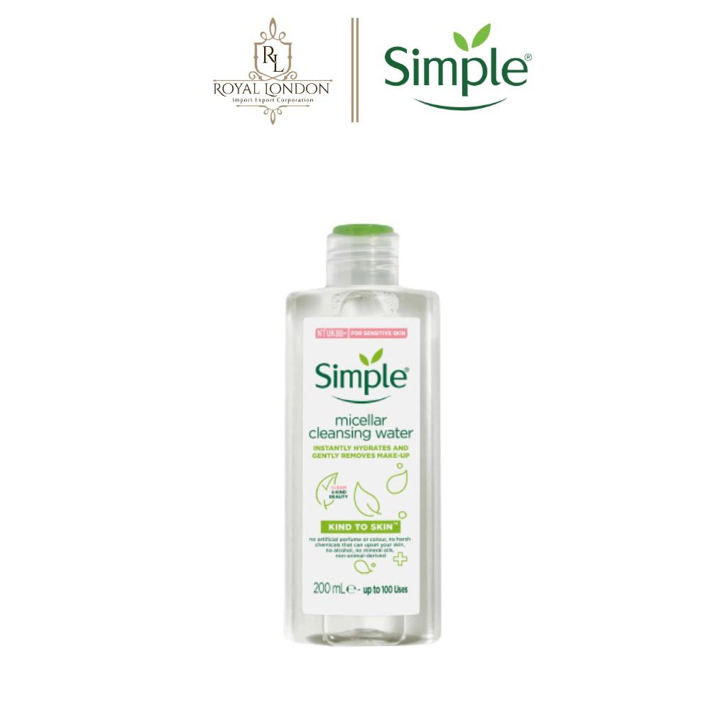 [Mã FMCG8 - 8% đơn 199K] Nước Tẩy Trang Dịu Nhẹ Simple Kind To Skin Micellar Water 200ml