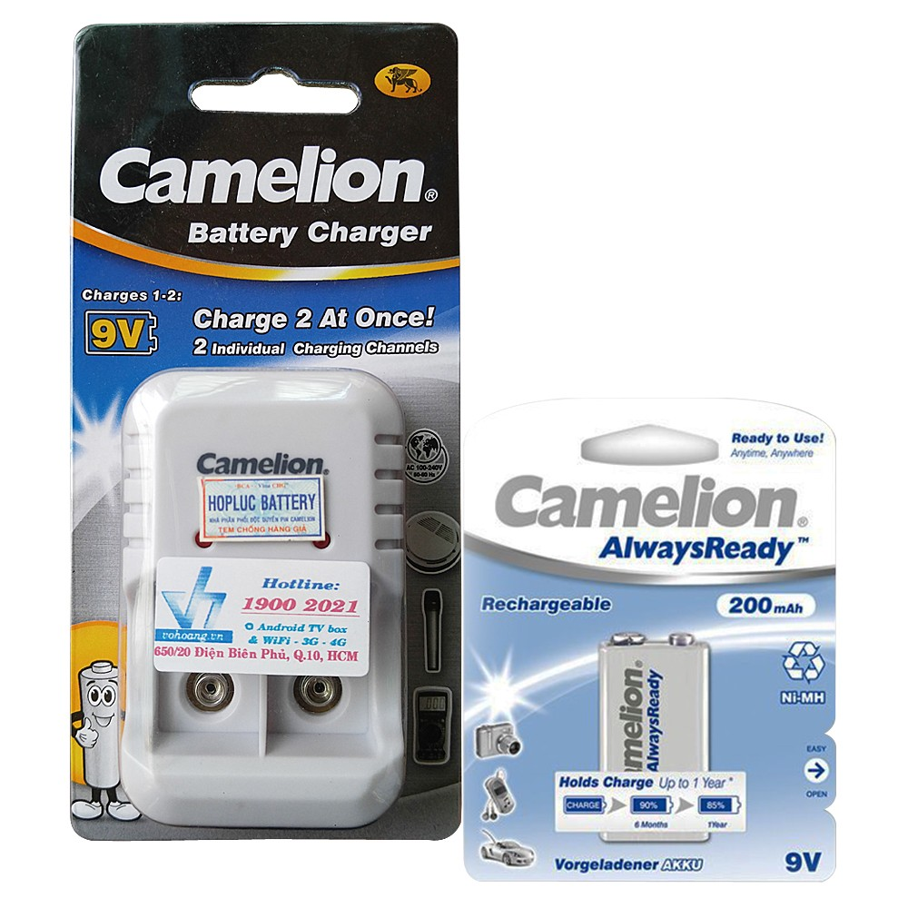 Bộ sạc pin 9V Camelion 1020B kèm pin 9V