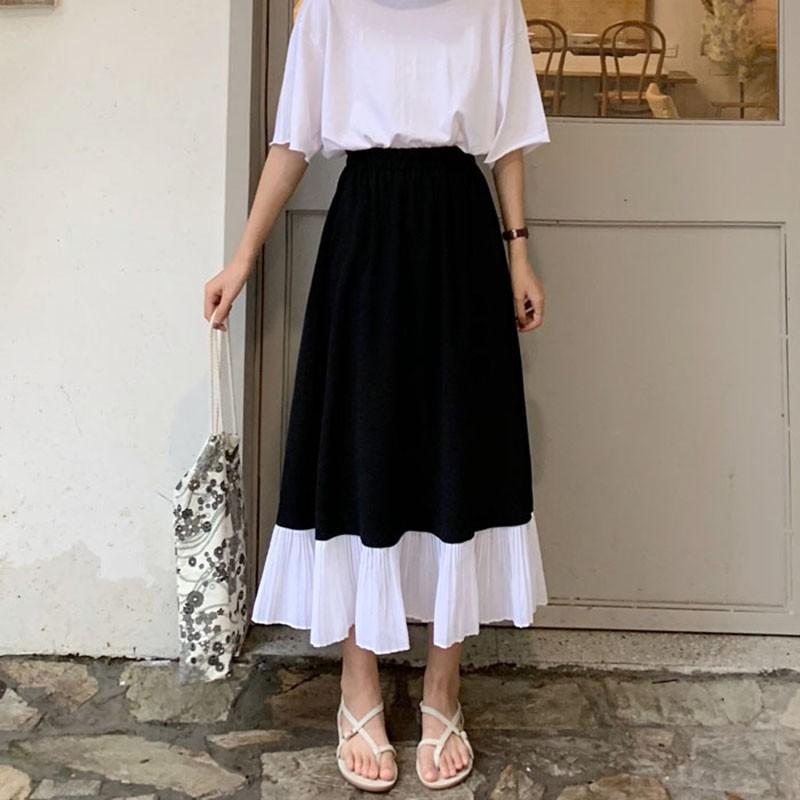 Chân váy xòe dài phối đuôi hai màu đen trắng Hàn Quốc ibox shop-(ORDER)