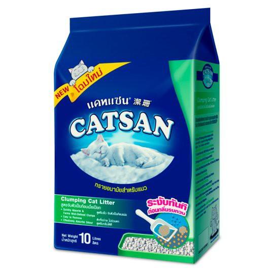 แคทแซน ทรายอนามัยสำหรับแมว สูตรจับตัวเป็นก้อนเมื่อเปียก 10 ลิตร