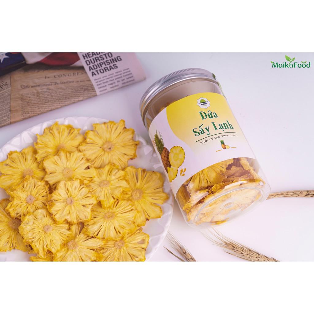 Dứa Sấy Lạnh Maika Food 100gr - Ăn vặt/Detox/Kento/Giảm Cân/Vitamin Không Đường
