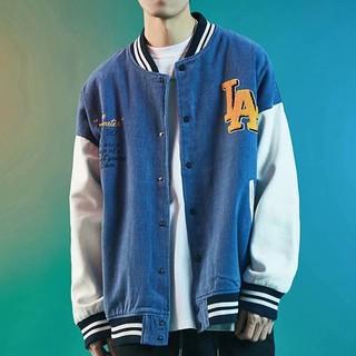 Jacket men's baseball uniform Japanese letters contrast color stitching all-match loose bomber jacket