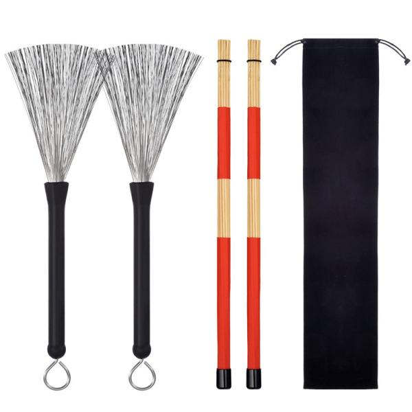 1 Pair Drum Brushes Retractable Wire Brushes + 1 Pair Rods Drum Brushes Sticks Set Percussion Instrument Parts
