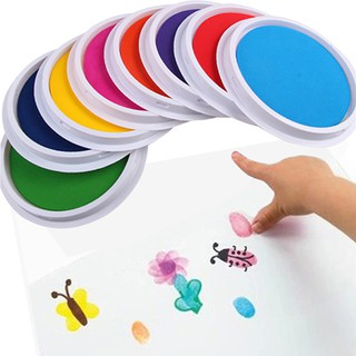 Colors DIY Ink Pad Stamp Finger Painting Craft Cardmaking Large Round For Kids