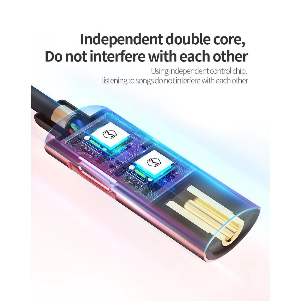 Cáp kết nối âm thanh 2 trong 1 USB Type-C chất lượng cao