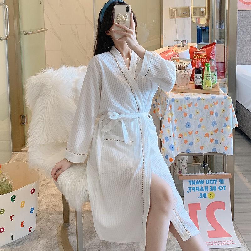 Áo choàng tắm nữ mùa hè dài tay áo choàng tắm nữ mỏng mùa xuân và mùa thu khách sạn năm sao Mã Pajamas Áo choàng tắm thấ