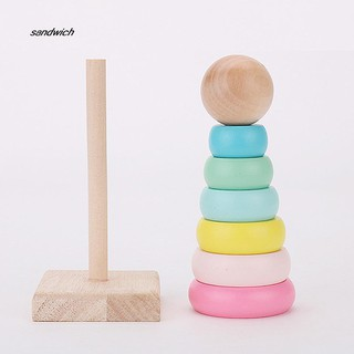 SDWC Wooden Stacking Macaroon Rings Tower Blocks Educational Children Sensory Toy