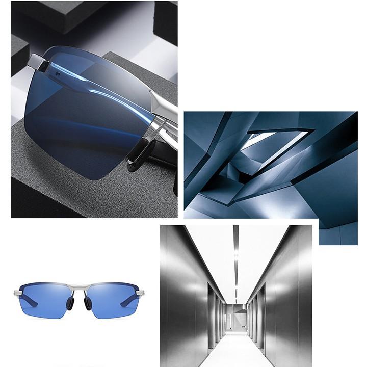 Mắt kính nam thời trang 2021, Kính râm nam Hàn Quốc gọng kim loại phân cực nâu xám đen_MS38