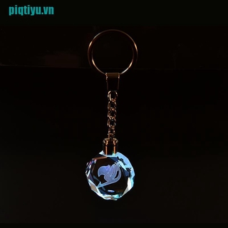 ♥New For Fairy Tail Anime Crystal LED Light Charm Key Chain Key Ring Cosplay 1PC