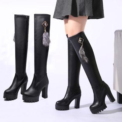 ฤดูใบไม้ร่วงและฤดูหนาวรองเท้าใหม่กว่าเข่ารองเท้าส้นสูง
