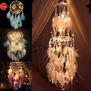 Mizzle Handmade DreamCatcher with/No LED Light Feather Night Light Fairy Lights Dromenvanger Home Bedside Living Room