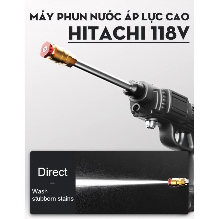 Máy rửa xe, vệ sinh, tưới hoa cầm tay dùng pin Hitachi 118V–Áp lực mạnh, pin sạc bền bỉ - dễ sử dụng – 3 chế độ phun rửa