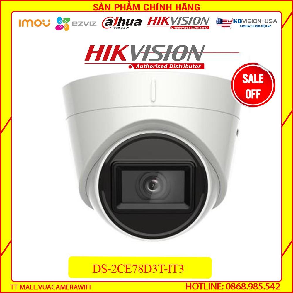 [ GIÁ HỦY DIỆT] Camera HDTVI HIKVISION DS-2CE78D3T-IT3 2MP chống ngược sáng hàng chính hãng bảo hành 2 năm