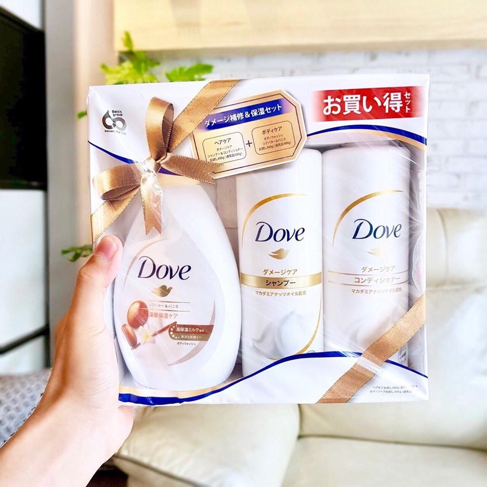 Set 3 món DOVE sữa tắm + dầu gội + dầu xã hương SHEA BUTTER VÀ ...