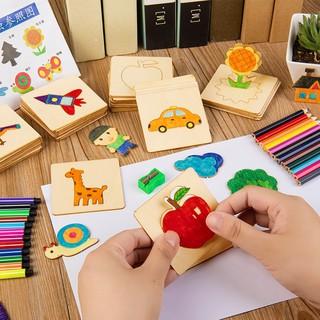 Bộ khuôn vẽ tranh hoạt hình gỗ phát triển khả năng nghệ thuật cho bé