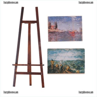 OM Dollhouse Miniature Accessory Artist Easel Stand & 2 Wood Paintings Pictures KS