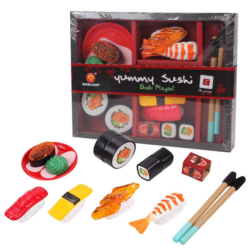 Children Cutting Fruits Vegetables Set Japanese Sushi Model Puzzle Pretend Play Toys as Gifts