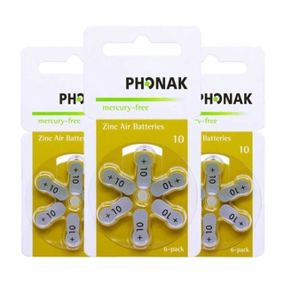 Pin Phonak A10 - Pin máy trợ thính 6 viên 1 vỉ thumbnail