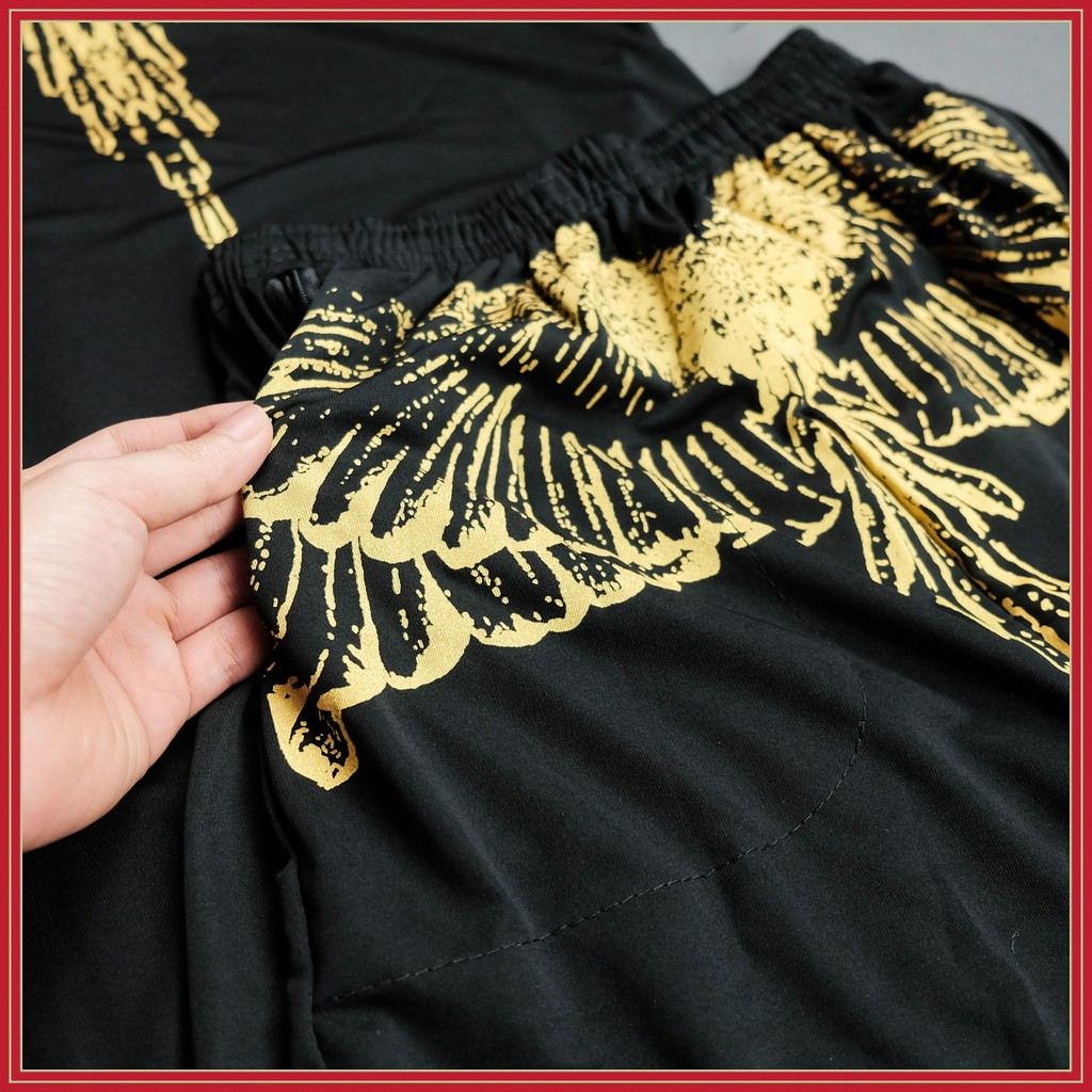 Bộ đồ mặc nhà nam thời trang phong cách mới chất thun cao cấp cánh chim vàng màu đen, túi quần có khóa kéo