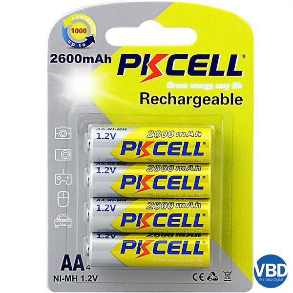Bộ 4 Pin sạc AA PkCell 1.2V