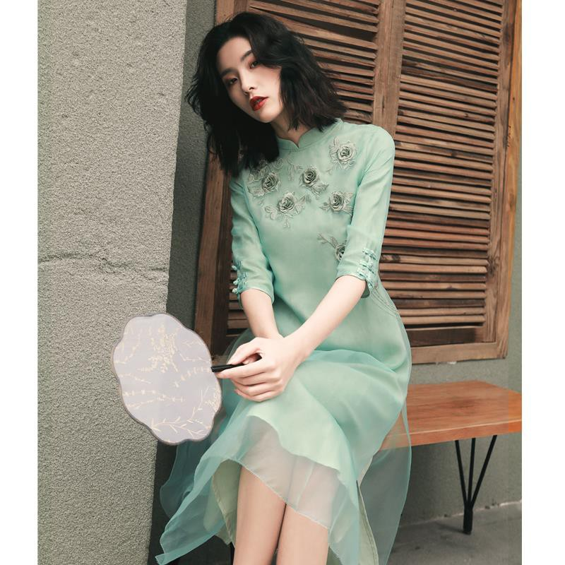 ✟◈Restore ancient ways improved qipao dress in summer 2019 the latest national wind ladies' Chinese embroidery son