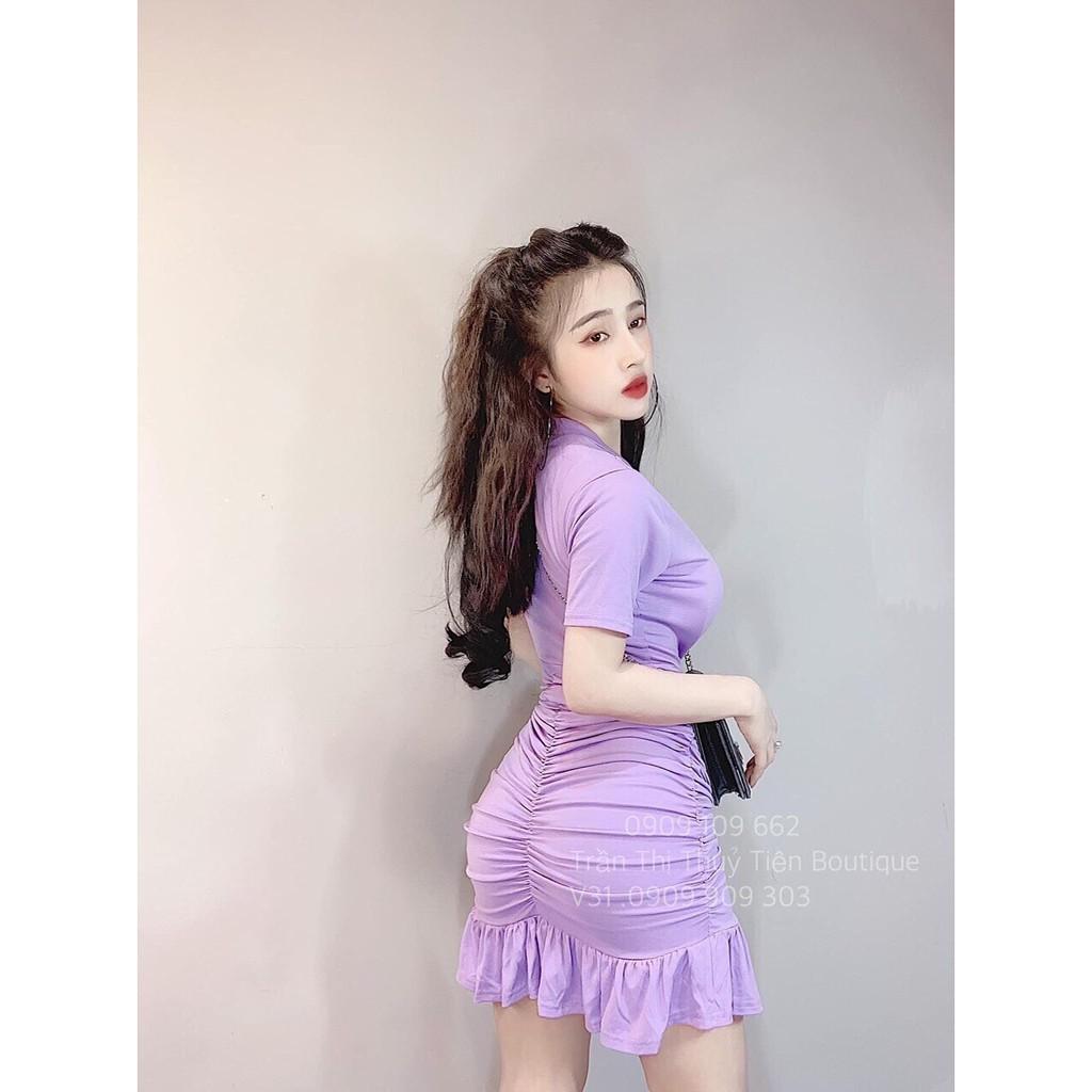 Đầm nữ body nhúm eo đuôi cá màu tím chất thun dẻo mềm mịn co dãn thoải mái vận động thích hợp mặc đi du lịch mặc đi chơi