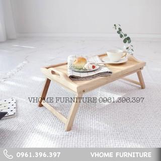 Bàn ăn Mini gỗ tự nhiên - Chân gập đa năng - Bed Tray - VHOME FURNTURE