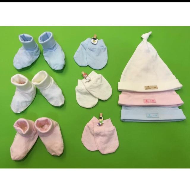 Set mũ, bao chân, bao tay cho trẻ sơ sinh Lu