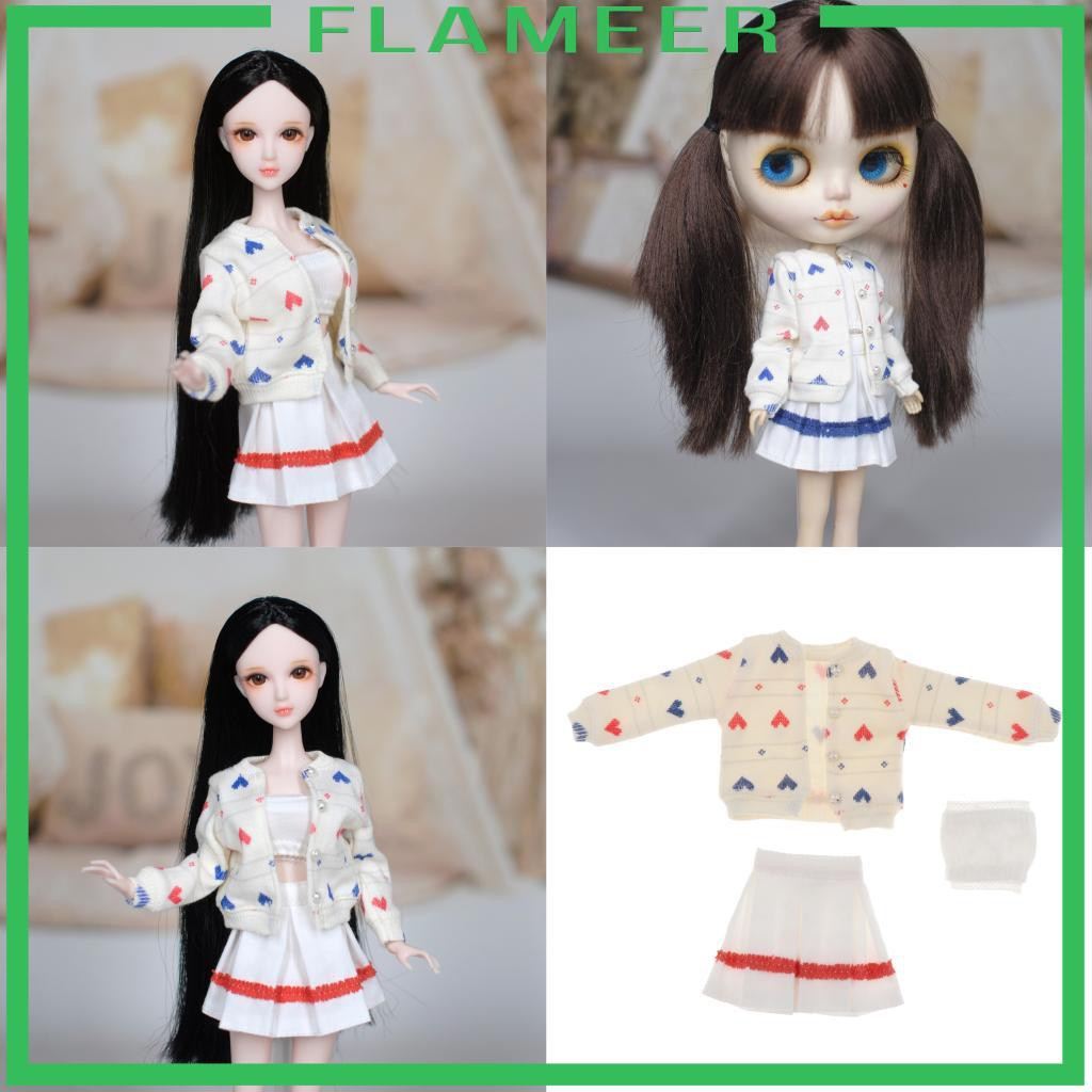[FLAMEER] 1/6 Doll Clothes Suit Pleated Skirt 3pcs Set for 12