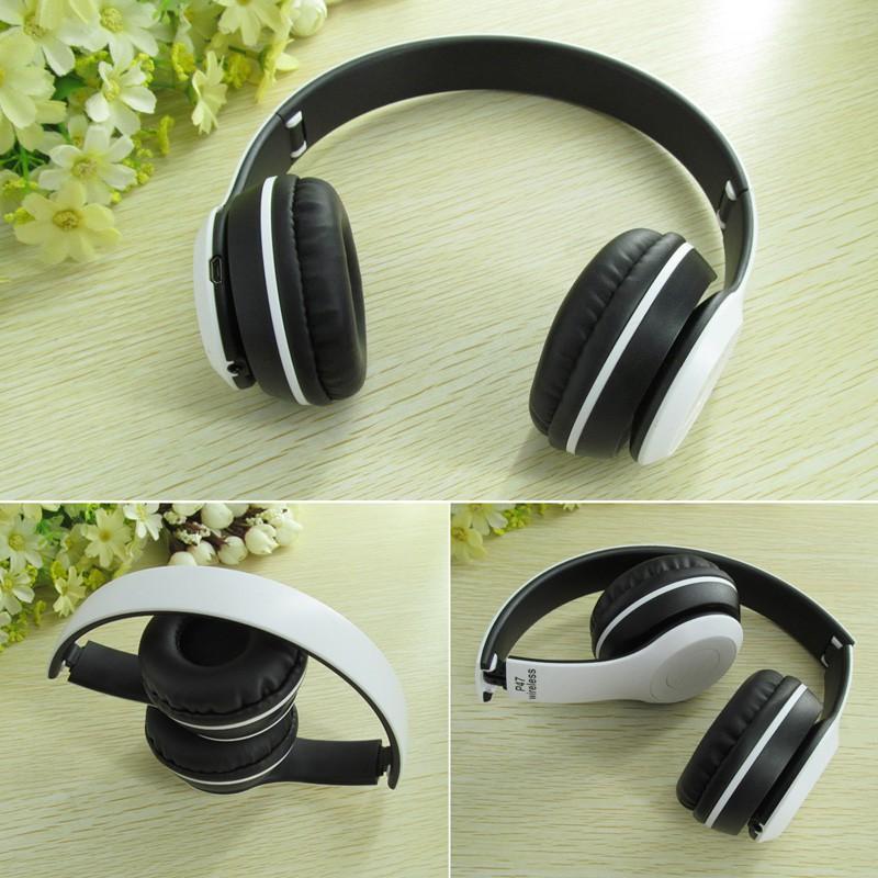 Tai Nghe Bluetooth Chụp Tai P47 màu trắng dùng được thẻ nhớ kiêm blutooth nghe nhạc