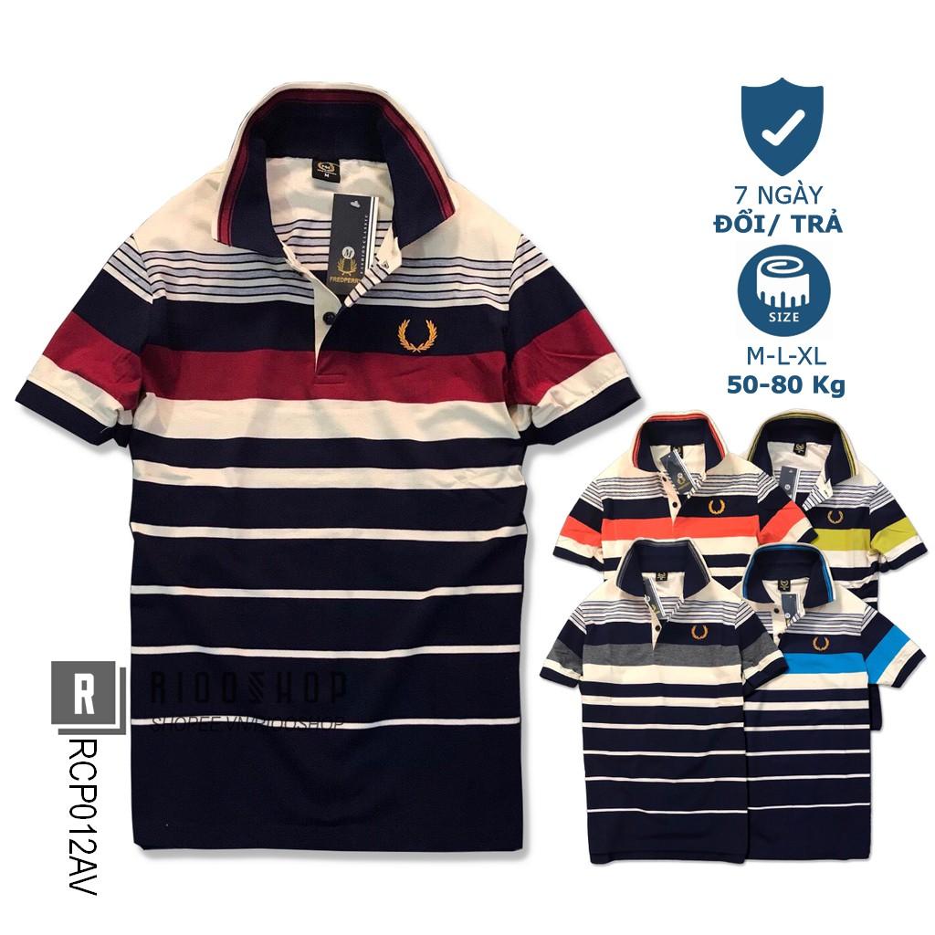 Áo thun nam trung niên có cổ cotton dày mịn kẻ sọc ngang cao cấp bông lúa RCP012AV - áo polo nam form rộng Riooshop