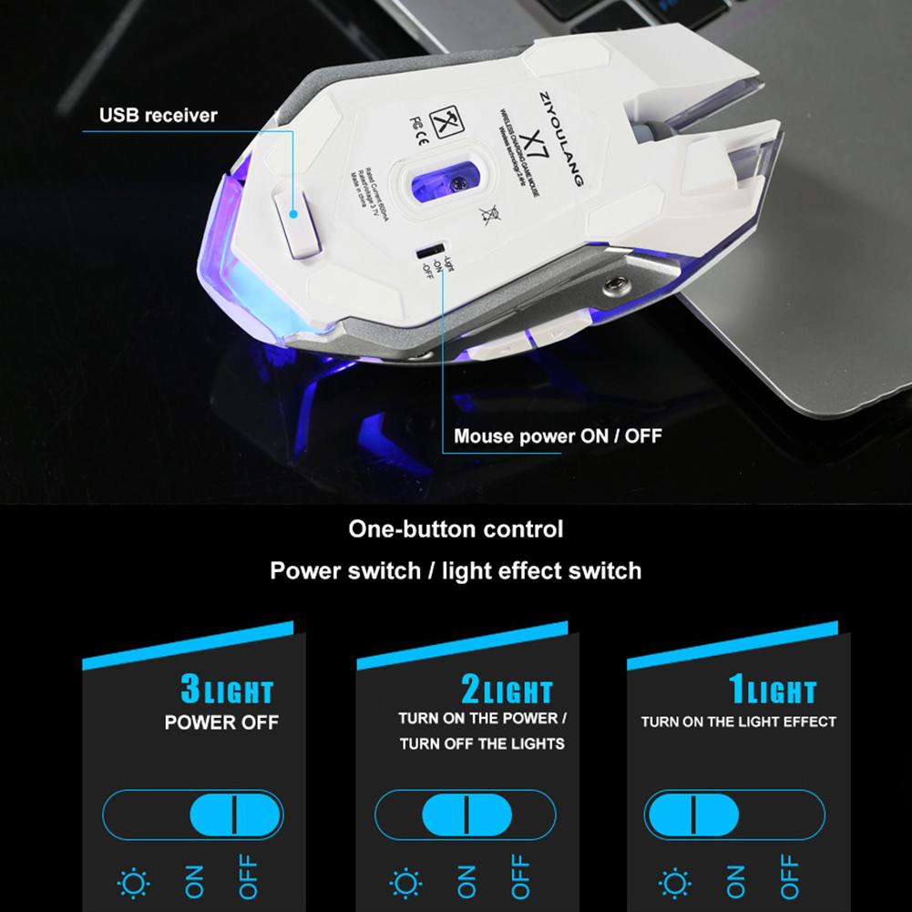 Chuột Gaming Ms X7 Quang Học Không Dây, 6 Nút Bấm, 7 Màu