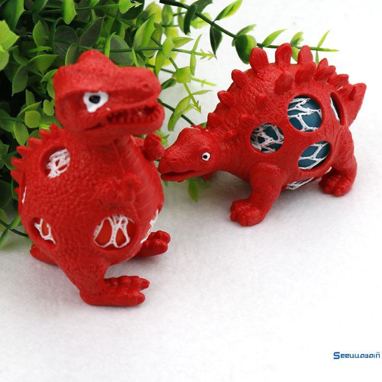 ღtwღFashion Dinosaur Spider Mesh Ball Grape Squeeze Stress Relief Autism Stress Tricky Toy