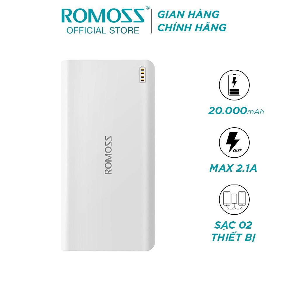 Pin sạc dự phòng Romoss SENSE 6 20.000mAh hỗ trợ cổng sạc nhanh 2.1A (Trắng) - Hãng phân phối chính thức