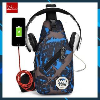 Túi đeo chéo nam vải canvas siêu nhẹ có khe cắm USB, khe đeo tai nghe TD033