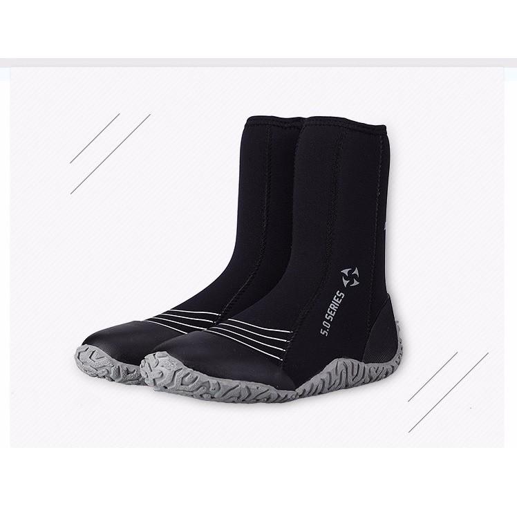 Giầy lặn biển giữ ấm chân, chống nước, dày 3mm chất liệu cao cấp - Xám POPO Sports