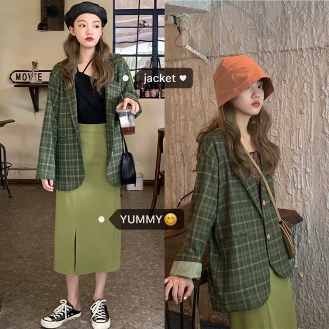 ORDER Set Blazer chân váy dài style Hàn Quốc - nhiều mẫu -kenkencu